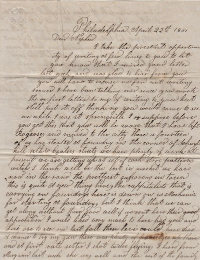 Philadelphia, Pennsylvania, 1837. Unbound. Very good. One-page letter, dated