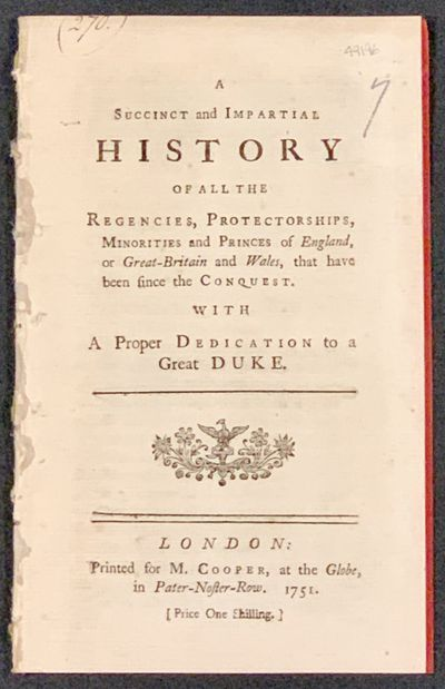 London: Printed for M. Cooper, at the Globe, in Pater-noster-Row, 1751. 1st Printing. Disbound, now ...