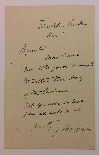 unbound. near fine. Scarce A.L.S., 8vo. 1 page, Dec. 2 , but c. 1860's while on the lecture circuit,...