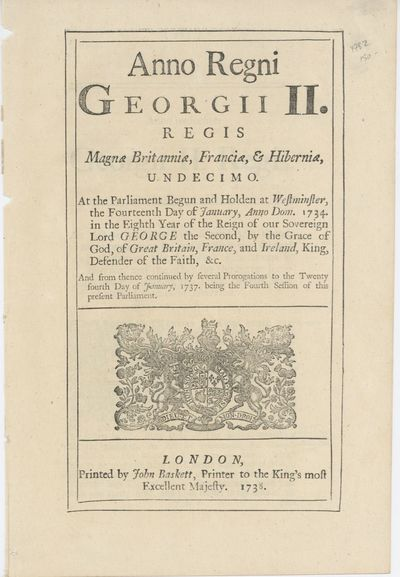 London: Printed by John Baskett, Printer to the King's most Excellent Majesty, 1738. Octavo-sized, t...