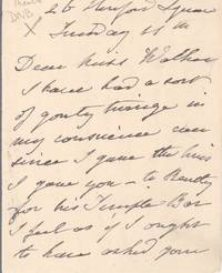 image of Autograph Letter Signed to Miss Walker (Frances Anne, Mrs Pierce Butler, 1809-1893, Shakespearean Actress)