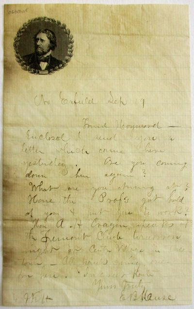One sheet, with Fremont portrait within a wreath in upper left corner. Browning along left margin, s...