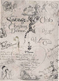 image of Savage Club Menu for the 1929 House Dinner, signed by the Chairman Tom Purvis with original cartoon sketch