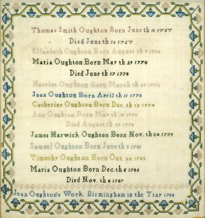 "Birmingham: 1788. 12.25"" x 12"" needlepoint sampler, edges slightly frayed; very good. § Text st..."