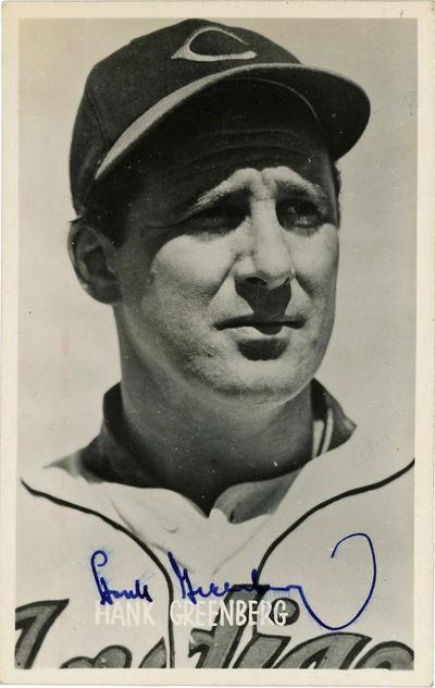 1953. Near fine, crisp image and signature.. 1 card. 5 1/2 x 3 1/2 inches. Hank Greenberg (1911-1986...
