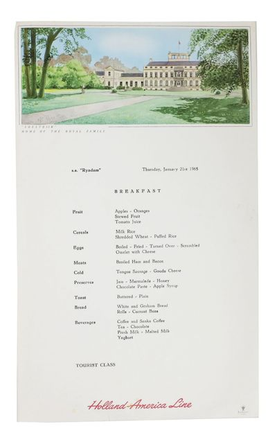 Holland, 1965. 1st Printing. White card stock leaf, printed in black and red. Now housed in a mylar ...