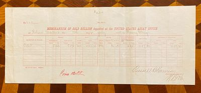 Helena, Montana, 1883. Very good. Document, printed in red (355 x 145 mm). Minor creasing. Signed by...