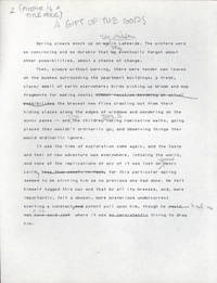 """'A GIFT OF THE GODS"""" [Short story]. Typed manuscript (TMs), with numerous autograph..."""