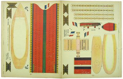 : , 1910. Two attached sheets of light cardboard. A very good copy.. . Four color images. 34 x 43 cm...