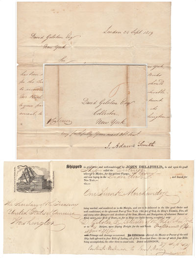 London to New York for delivery to Washington, DC, 1819. Envelope or Cover. Very good. This one-page...