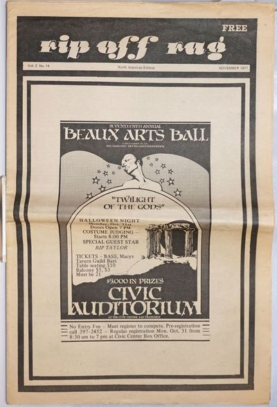 San Francisco: Gallery Workshop, 1977. Newspaper. folded tabloid newspaper, photos, illustrations, a...