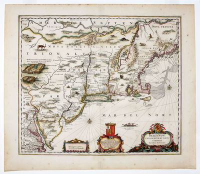 Amsterdam, 1660. No Binding. Near Fine. 17 1/4 x 20 ¼ inches. Fine hand color; reinforced bottom of...