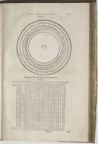 4to , (6) ff., 554 pp., with 3 volvelles, title and several text leaves with red printing, woodcut d...