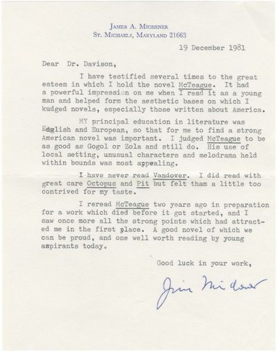 N.p.: N.p., 1981. Typed letter signed from James Michener to noted author and interviewer Richard Da...