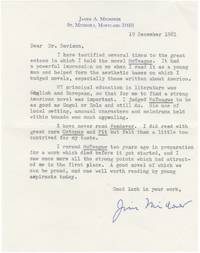 """Typed letter signed from James Michener, discussing the influence of Frank Norris' """"McTeague"""" on his work"""