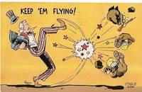 image of KEEP EM FLYING UNCLE SAM JAPANESE MILITARY VINTAGE POSTCARD