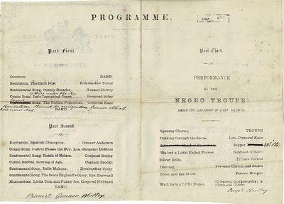 Kinsale, : printed at the 50th Regimental Press, 1877. Bifolium program (8.5 x 13 cm), pp. , the las...