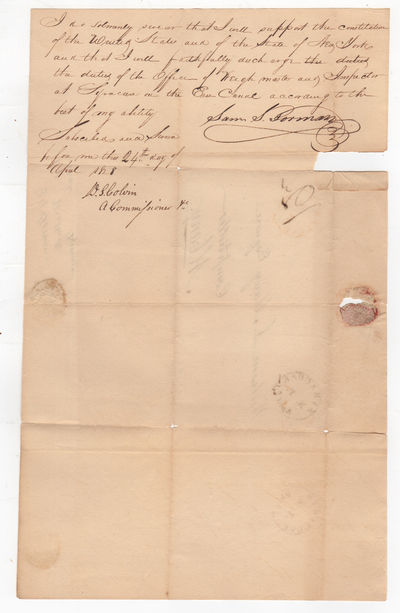 , 1828. Very good, light browning, some tearing along the edges and folds, one chip from opening sea...