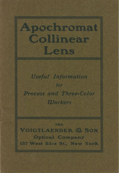 New York: The Voigtländer & Son Optical Company, 1901. First edition. 16mo., 24 pp., illustration...