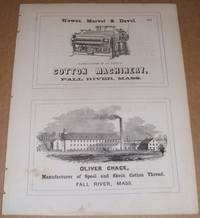 1853 Four 1/2 Page Ads for Iron Foundry, Locomotives, Cotton Machinery ,  Thread Factory