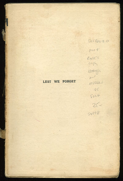 London: Jarrold & Sons, 1915. Unbound. Good. First edition. Top edge gilt. Disbound else good. From ...