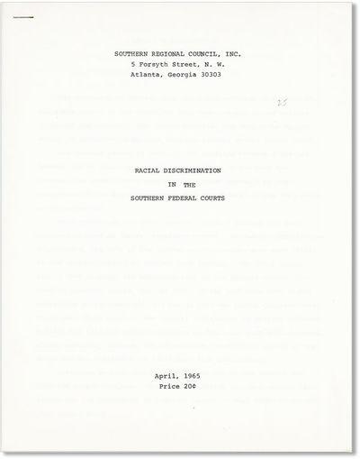 Atlanta: Southern Regional Council, 1965. First Edition. Quarto (28cm.); corner-stapled self-wrapper...