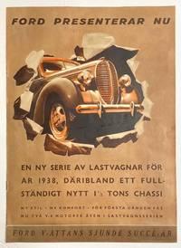 image of Ford presenterar nu en ny serie av lastvagnar för år 1938, däribland ett fullständigt nytt 1 1/2 tons chassi