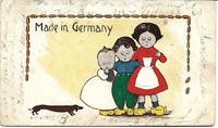 image of Children in Wooden Shoes_Dachshund on 1907 Comic Postcard
