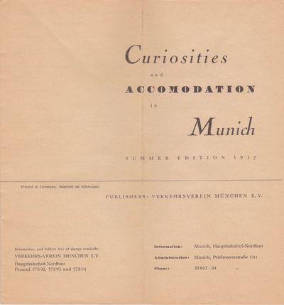 Munich: Verkehrsverein München E.V., 1937. 8vo (8 1/4 x 7 3/4 inches; 210 x 197 mm), 20 pages, in s...