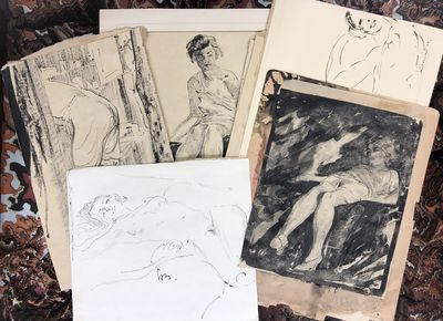 Very Good. A collection of eleven original ink sketches by the artist Sandor Bernath. All sketches a...