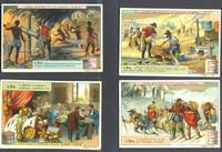 """image of Set of 6 cards featuring gold and gold mining, for """"Veritable Extrait de Viande Liebig"""""""
