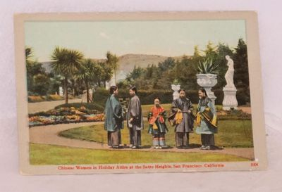 San Francisco: Britton and Rey, . Color postcard with five women in traditional silk robes standing ...