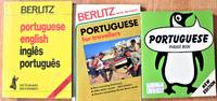 image of Lot of Three: Berlitz Portuguese Phrase Book, Portuguese English Dictionary, and Portuguese for Travelers
