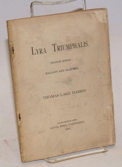 Santa Rosa, CA: Fountaingrove Press, 1891. Pamphlet. 53p., lacking original wraps, staples starting ...