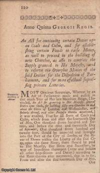 NATIONAL DEBT ACT 1718 c. 9. An Act for continuing certain Duties upon Coals and Culm, and for...