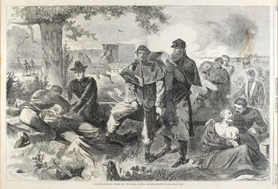 """Harper's Weekly, July 12, 1862. Single leaf, 10 11/16 x 15 3/4"""", wood engraving with title infor..."""