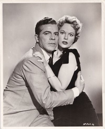 London: Columbia Pictures, 1957. Vintage publicity photograph of Dana Andrews and Peggy Cummins from...