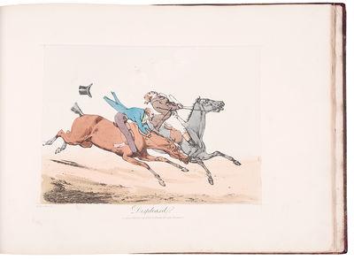 London: Thomas Mclean, 1823. Oblong folio. Letterpress ttile. 18 fine hand-coloured soft-ground etch...