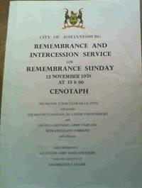 City Of Johannesburg; Remembrance & Intercession Service On Remembrance Sunday 12 November 1978 At 15 h 00 Cenotaph
