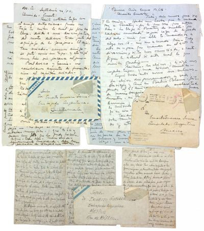 1956. Very good letters, last with some ink burn to a few characters and ragged edges; envelopes wit...