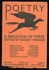 Chicago: Poetry, 1935. Softcover. Fine. Vol. XLVI, no. IV. Fine in very good wrappers with edge chip...