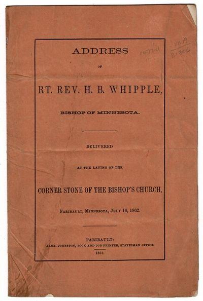Faribault: Alex. Johnson, 1862. 8vo, pp. 7, ; original orange printed wrappers; very good. Martin 46...