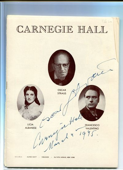 New York: Carnegie Hall, 1945. 4to. Wrappers. Fine. 4to.