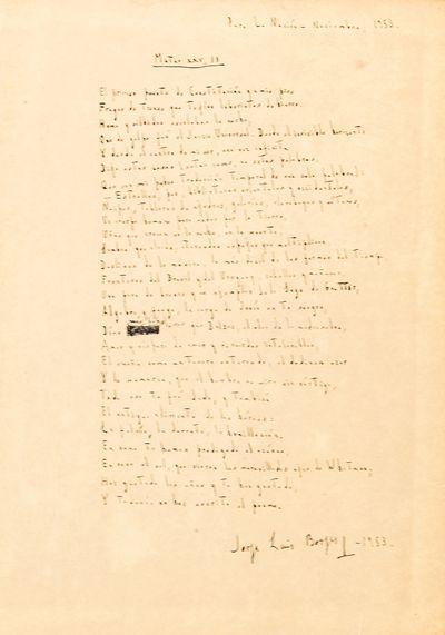 """Borges: Manuscript Poem, Signed *..."