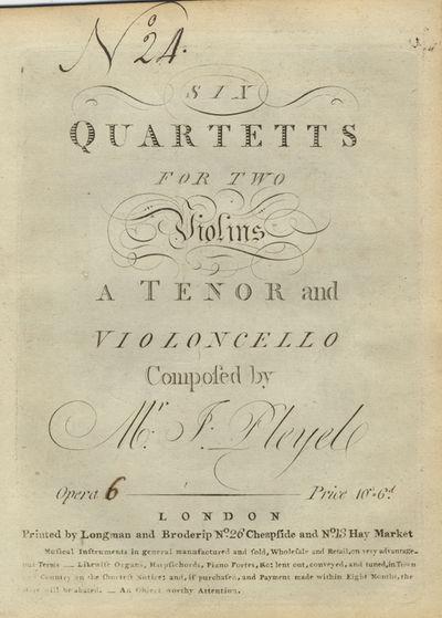 : Longman and Broderip, 1786. Folio. Disbound. Violino primo: 1f. (title), (publisher's catalogue), ...