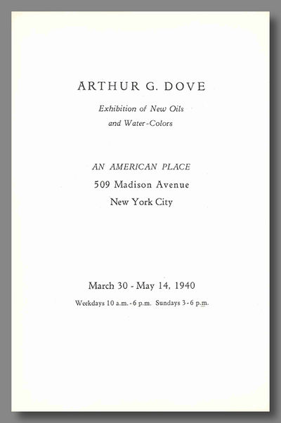 New York: An American Place, 1940. pp. Octavo. Folded leaflet. Fine. First edition of this catalogue...