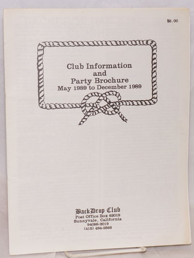 Sunnvale, CA: Back Drop Club, 1989. 8.5x11 inches, Club history and information, event and party cal...