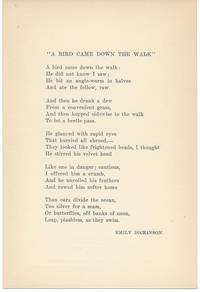 A BIRD CAME DOWN THE WALK. (Broadside.)