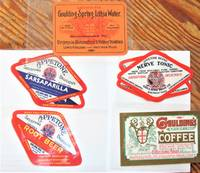 image of Lot of Five Antique Drink Labels: Appetone Brand Root Beer, Nerve Tonic, Sarsaparilla , Goulding Spring Lithia Water, and Goulding Sparkling Coffee