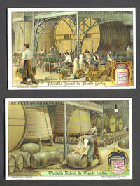 """image of Set of 6 cards featuring wine & champagne making, for """"Veritable Extrait de Viande Liebig"""""""